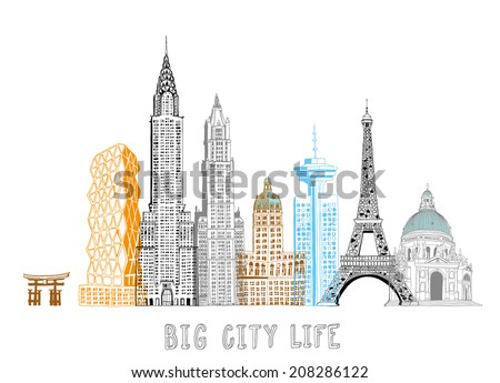 Hand Drawn Famous Buildings Collection 2 Stock Vector