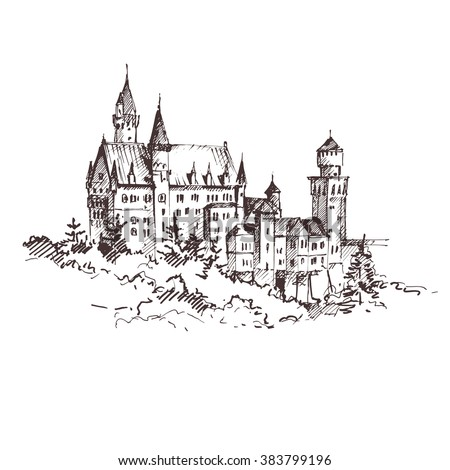 Hand drawn famous old Castle, Germany. Vector illustration. - stock vector