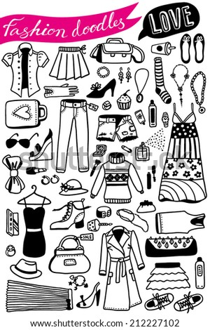 hand-drawn fashion doodles set 2 - stock vector