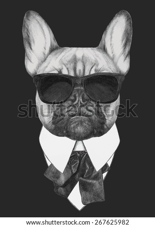 Hand drawn fashion Illustration of French Bulldog. Vector isolated elements. - stock vector