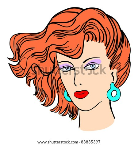 Hand-drawn fashion model. Vector illustration. Woman's face. Rasterized version also available in 