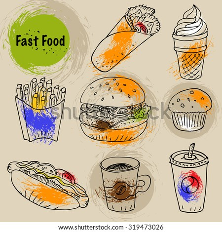 Hand drawn fast food doodle set. Black line art ink illustration with colorful paint splashes. Hot dog, burger, fries, soda, coffee and dessert for menu and web design.