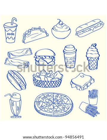 Hand Drawn Fast Food Icon Set       vector eps10 - stock vector