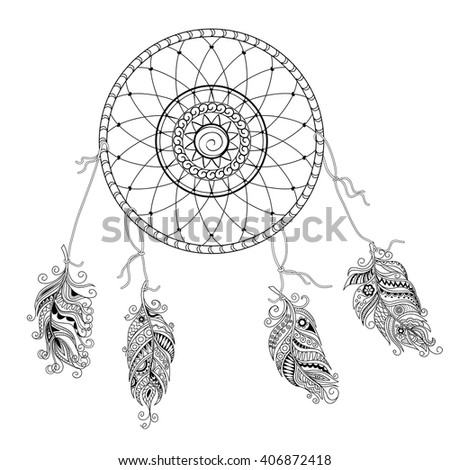 Hand drawn feathers dream catcher isolated stock vector for Dream catcher tattoo template