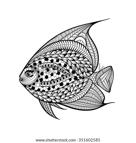 Hand Drawn Fish In Zentangle Style Patterned Animal Illustration For Adult Anti Stress Coloring Pages