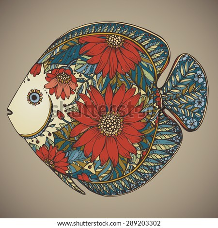 Hand drawn fish with floral elements in black and white style - stock vector