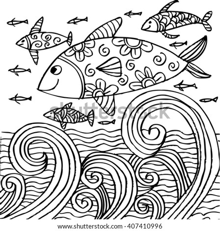 Hand drawn fishes  in the waves