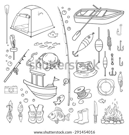 Hand drawn, Fishing equipment and related objects set, vector illustration