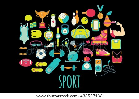 Hand drawn fitness doodle icons set. Colorful hand drawn doodle style sport and fitness design elements. - stock vector