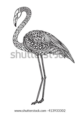 Hand drawn flamingo bird in ornate fancy doodle style. Black and white Vector illustration for print, coloring book. - stock vector