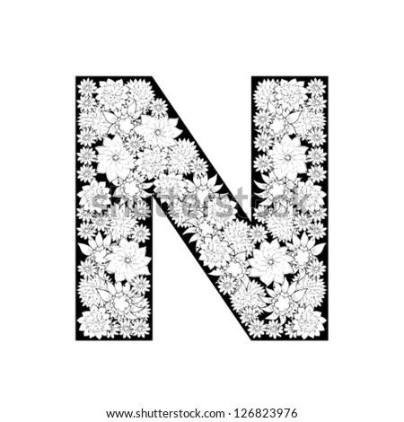 N Alphabet Design Hand drawn floral alphabet design. Letter N - stock vector