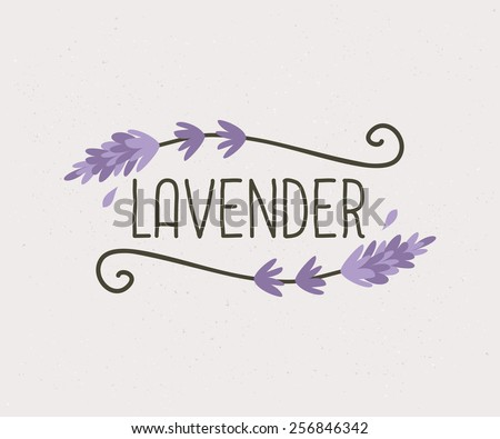 Hand drawn floral design, cute and elegant vintage style logo template. - stock vector