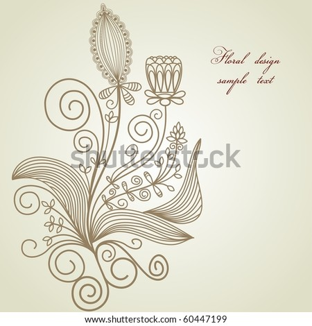Hand drawn floral design element - stock vector