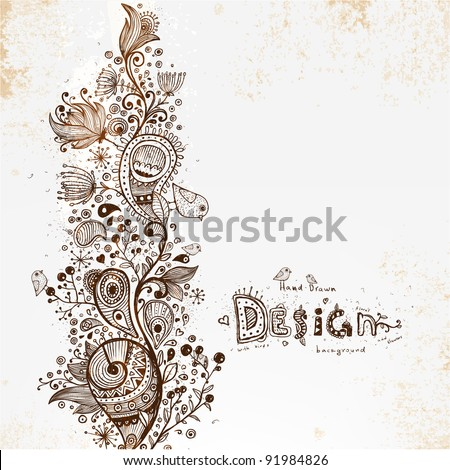 Hand Drawn floral detailed background, retro flowers - stock vector