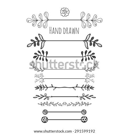 Hand drawn floral elements. Collection hand drawn border with ink doodle decoration. Retro style. Laurels, leaves, arrows, branches. - stock vector