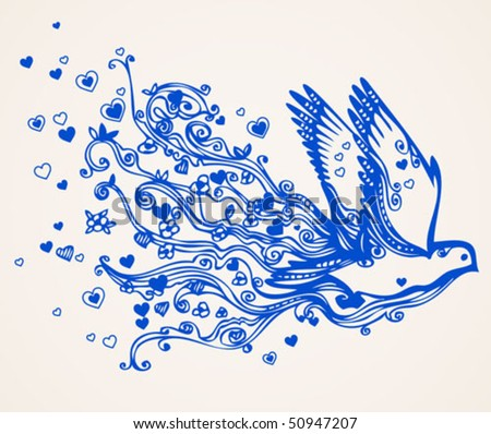 Hand drawn floral flying bird of peace - swirly doodle. Dove brings love and understanding - stock vector