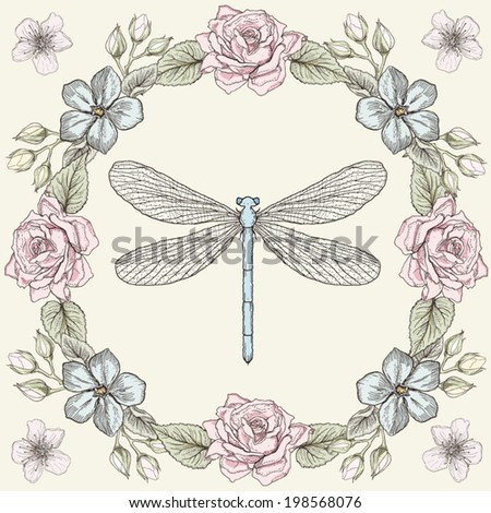 Hand drawn floral frame and dragonfly. Colorful illustration. Vintage engraving style - stock vector