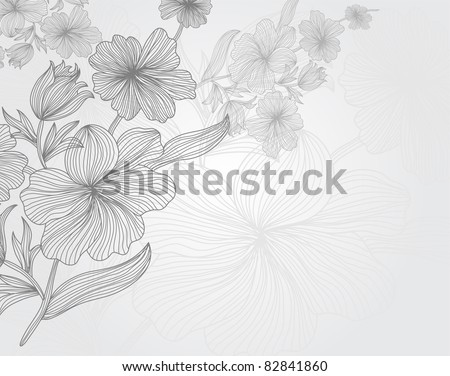 hand drawn floral invitation for life events with place for text - stock vector