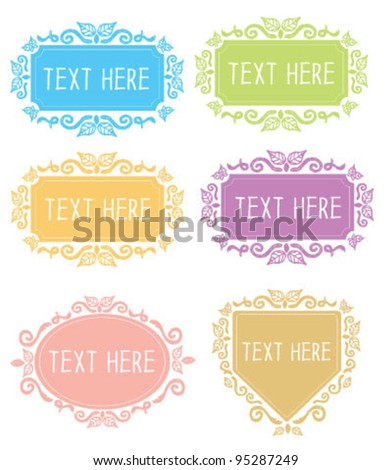 Hand drawn floral ornate banner frames - stock vector