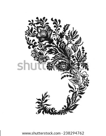 Hand Drawn floral Paisley ornament in black and white vector illustration - stock vector
