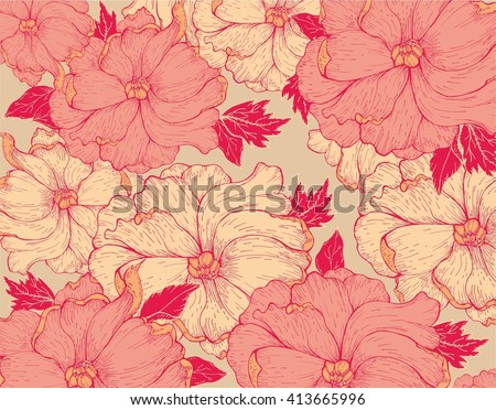 Hand drawn floral pattern - stock vector