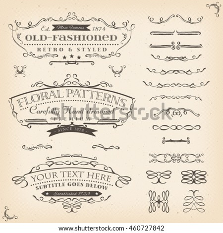 Hand Drawn Floral Patterns And Frame/ Illustration of a set of retro labels, frames, sketched banners, floral patterns and graphic design elements on vintage old paper background