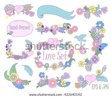 Hand-drawn floral set vector clipart on white background, flower wreath set, hand-drawn flower wreath, flower wreath drawing, flower wreath clipart, flower wreath for wedding, flower wreath isolated - stock vector