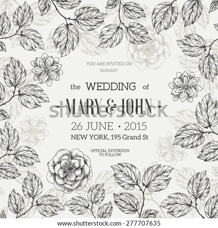 Hand drawn floral wedding invitation vector stock vector 277707635 hand drawn floral wedding invitation vector illustration stopboris Images