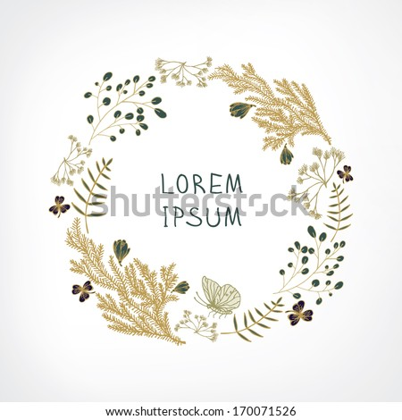 hand drawn floral wreath - stock vector