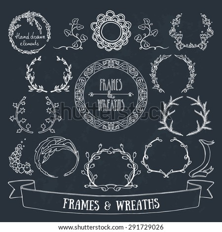 Hand drawn floral wreaths and round frames with copy space on chalkboard. Cute romantic design elements for wedding, invitation, save the date and greeting cards. - stock vector