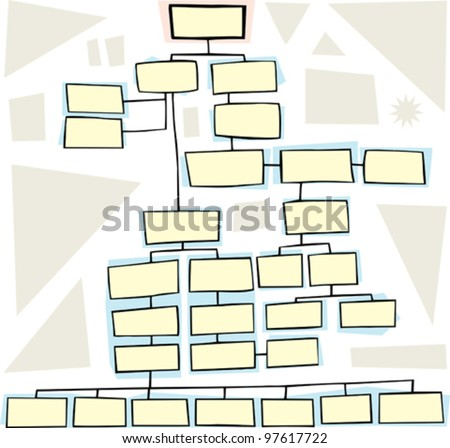 Hand drawn flowchart for family trees or business - stock vector