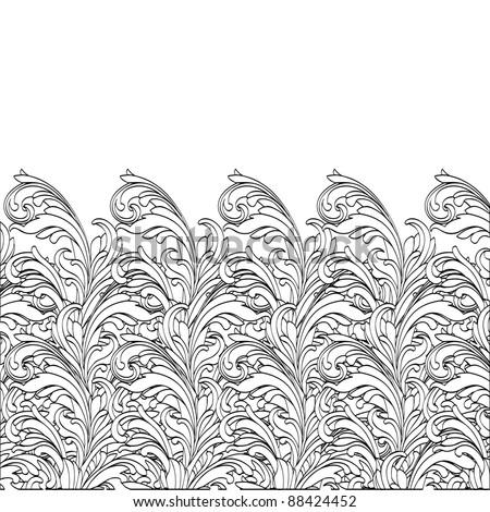 Hand-Drawn  Flower black and white design . vector Illustration - stock vector