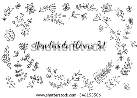 Hand drawn Flower card, lettering text.Summer pattern. Vector floral set. Graphic collection with leaves and flowers, drawing elements. Spring or summer design for invitation, wedding or greeting card - stock vector