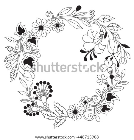 Hand Drawn Flower Design For Coloring Book Adult Other DecorationsZen Tangle Style Frame