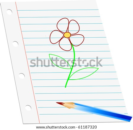 Hand drawn flower on paper illustration vector