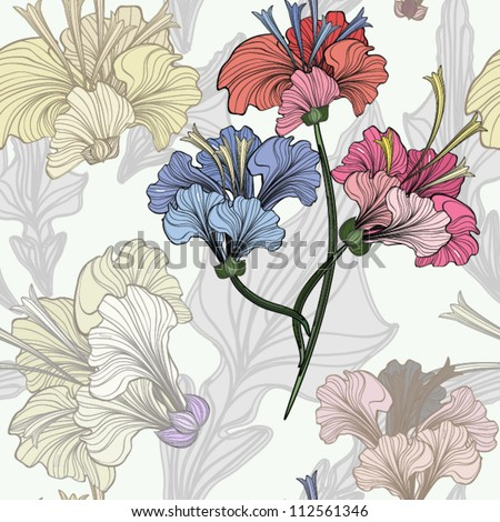 Hand drawn flower seamless pattern, EPS10 Vector background