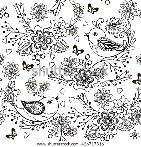 Hand Drawn Flowers And Birds For The Anti Stress Coloring Page Floral Seamless Pattern With