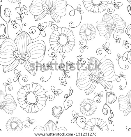 Hand drawn flowers . Seamless pattern. - stock vector