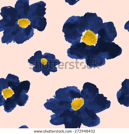 Hand drawn flowers seamless pattern. Deep blue abstract brush strokes flowers on a blush pink background. - stock vector