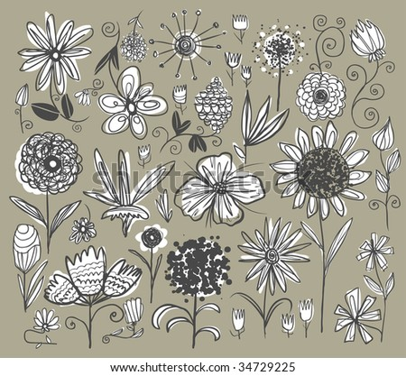 Hand-drawn flowers set. Vector illustration.