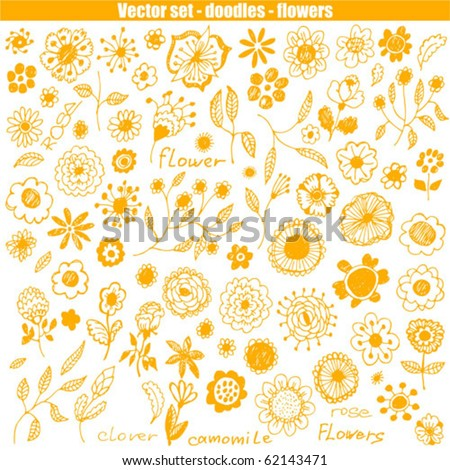 Hand-drawn flowers set. Vector illustration. - stock vector
