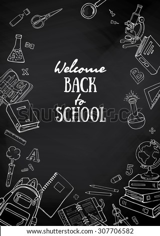 Hand drawn flyers template for school products. Doodle back to school background on blackboard. Printed materials for brochures, folder, flyers, banners, leaflet. - stock vector