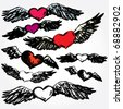 Hand Drawn Flying Hearts - stock vector