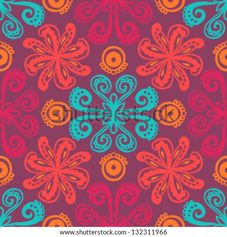 hand drawn folk ethnic ornamented seamless pattern with thick lines and stylized flowers  Texture background for web, print, home decor, textile, wrapping paper, oriental cuisine restaurants ads - stock vector