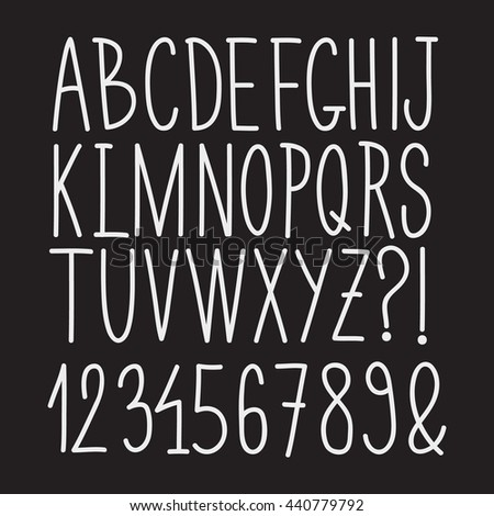 Hand drawn font. Alphabet set with numbers, vector illustration.
