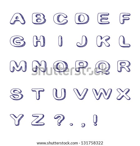 Hand Drawn Font, Doodle Alphabet, Childish ABC. Vector Illustration - stock vector