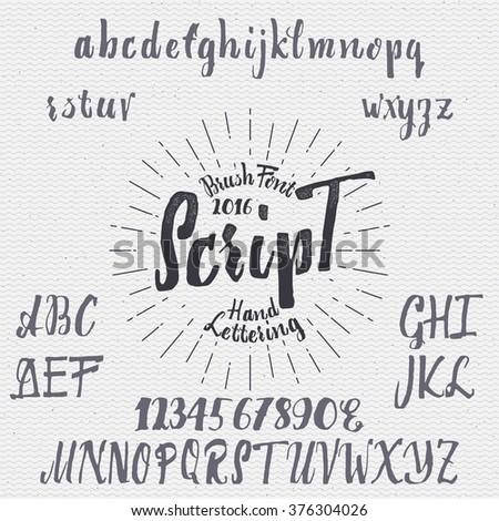 Hand drawn font handwriting brush - stock vector