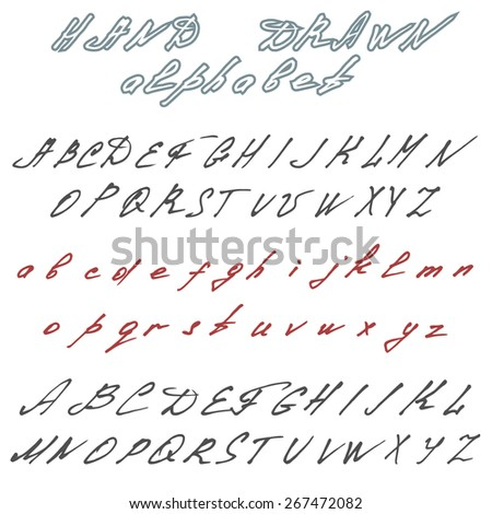 Hand drawn font. Handwriting doodle alphabet. Vector illustration - stock vector