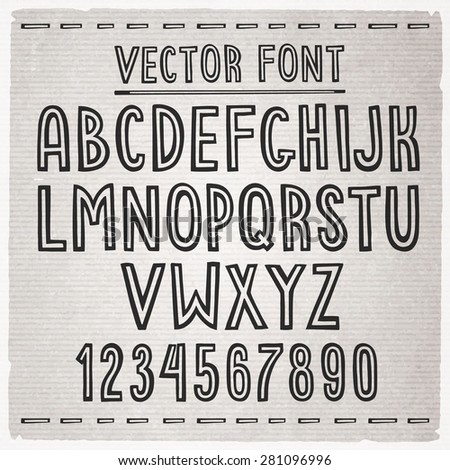 Hand drawn font. Vector alphabet. - stock vector