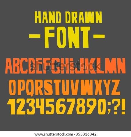 Hand drawn font.Vector illustration. - stock vector